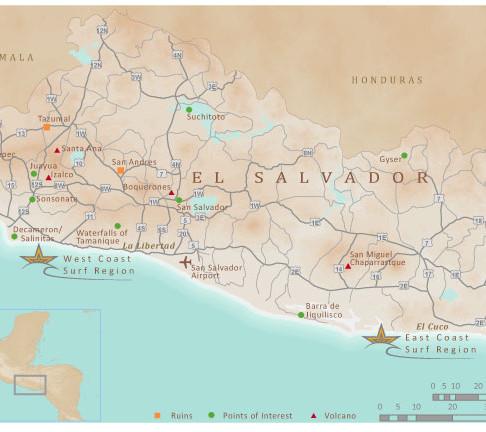 El Salvador Surf Tourism Map