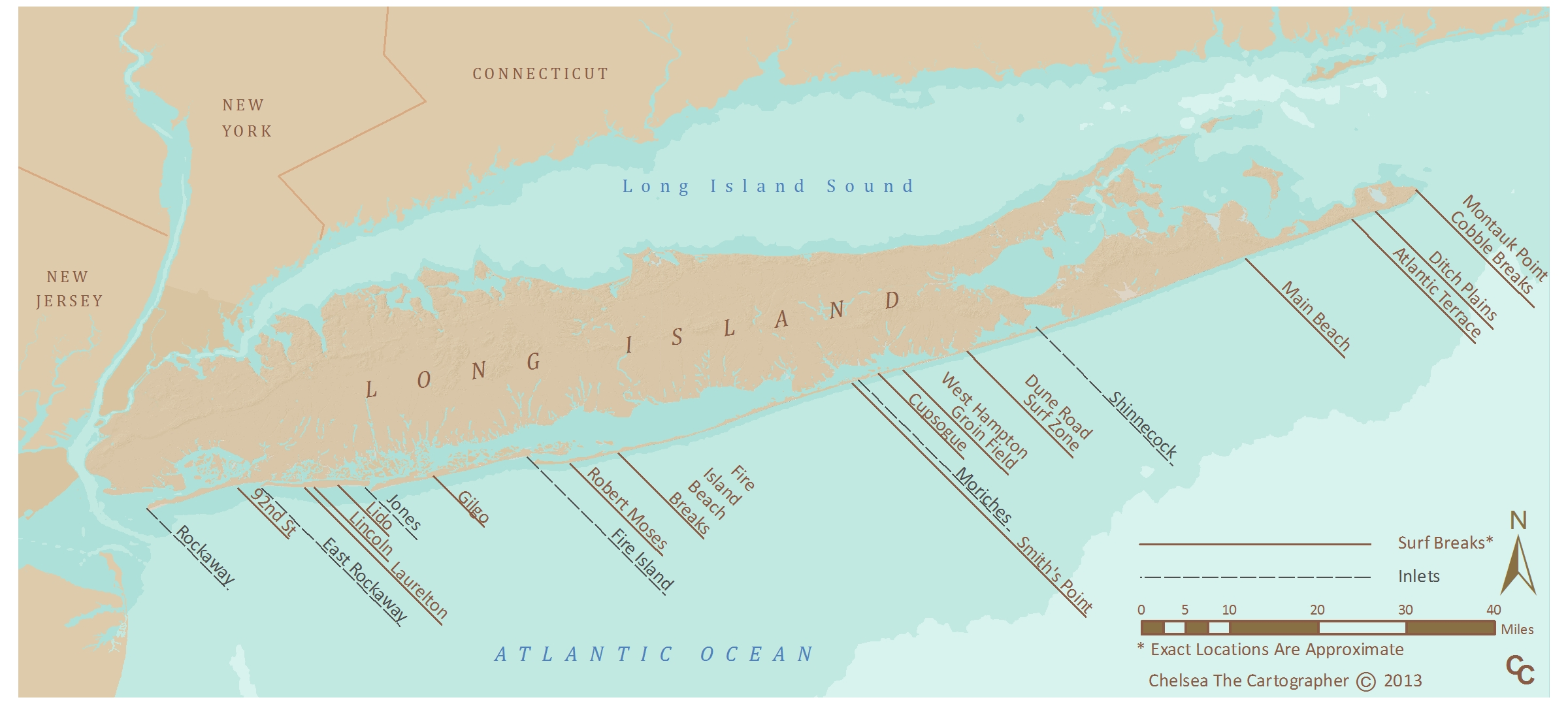 Long Island Surf Map
