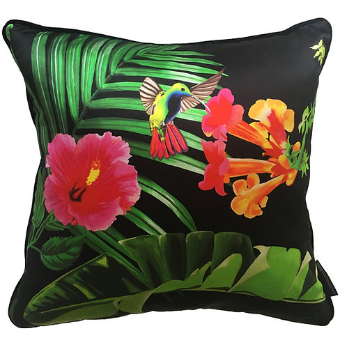 Fleurs de La Soir, Hummingbird and Hibiscus Cushion