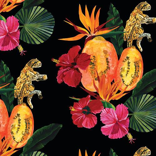 Fleurs de La Nuit, Leopard et Papaye Wallpaper