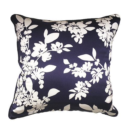 Deep Blue and Dove White Blossoms Cushion