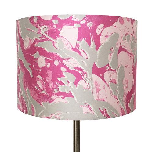 Hot Pink and Silver Marbling Lampshade