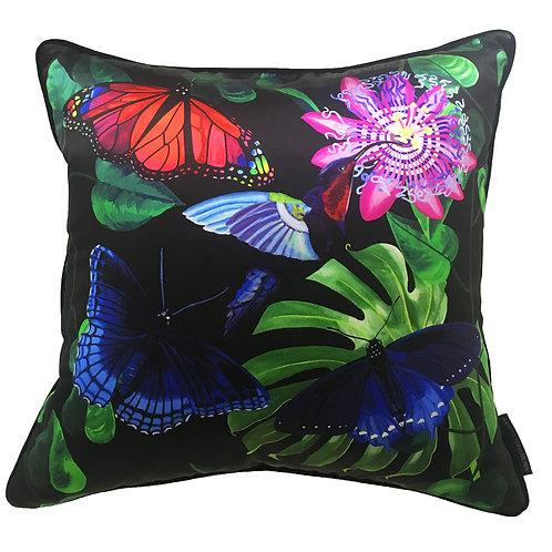 Fleurs de La Nuit, Hummingbird and butterflies Cushion