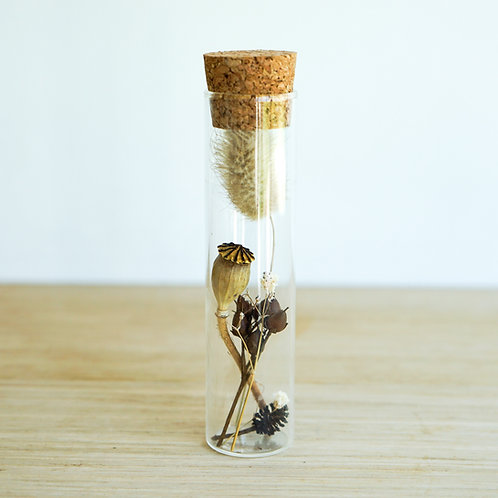 Organic dried flowers in glass tube # 3