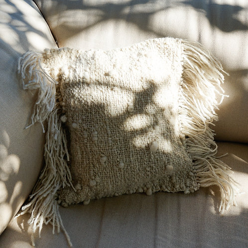 Handwoven cushion from hand spun wool