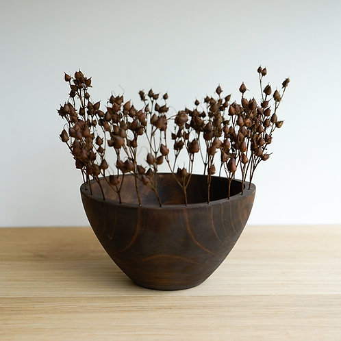 Wood turned bowl with dried organic flowers