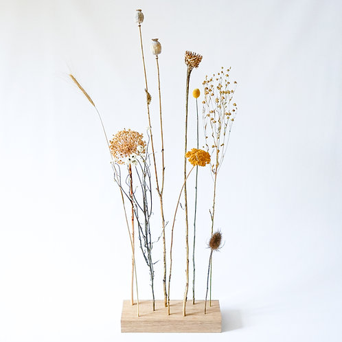 Organic dried flower bouquet with wooden block # 1
