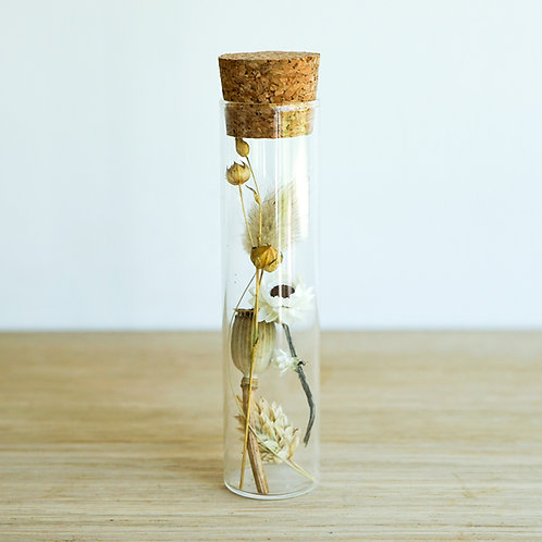 Organic dried flowers in glass tube # 4