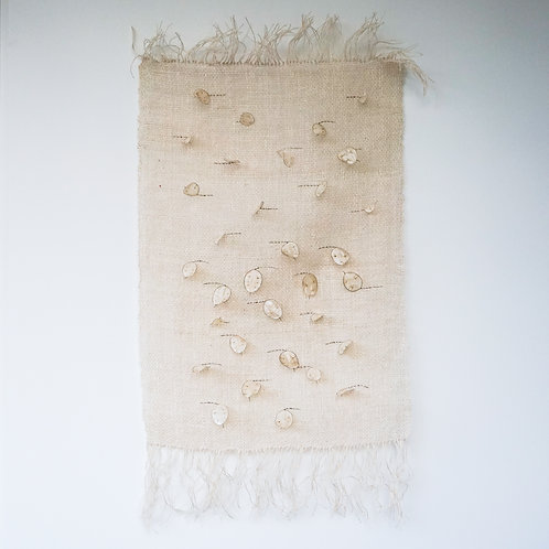 Wall hanging from linen with honesty seed pots