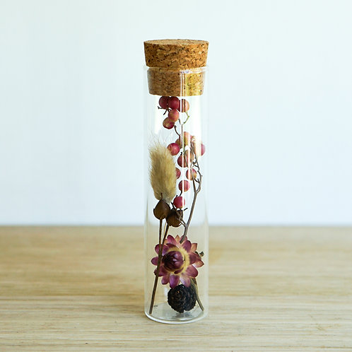 Organic dried flowers in glass tube # 6