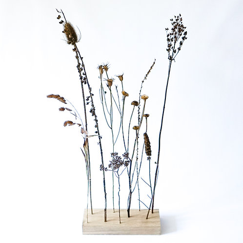 Organic dried flower bouquet with wooden block # 2