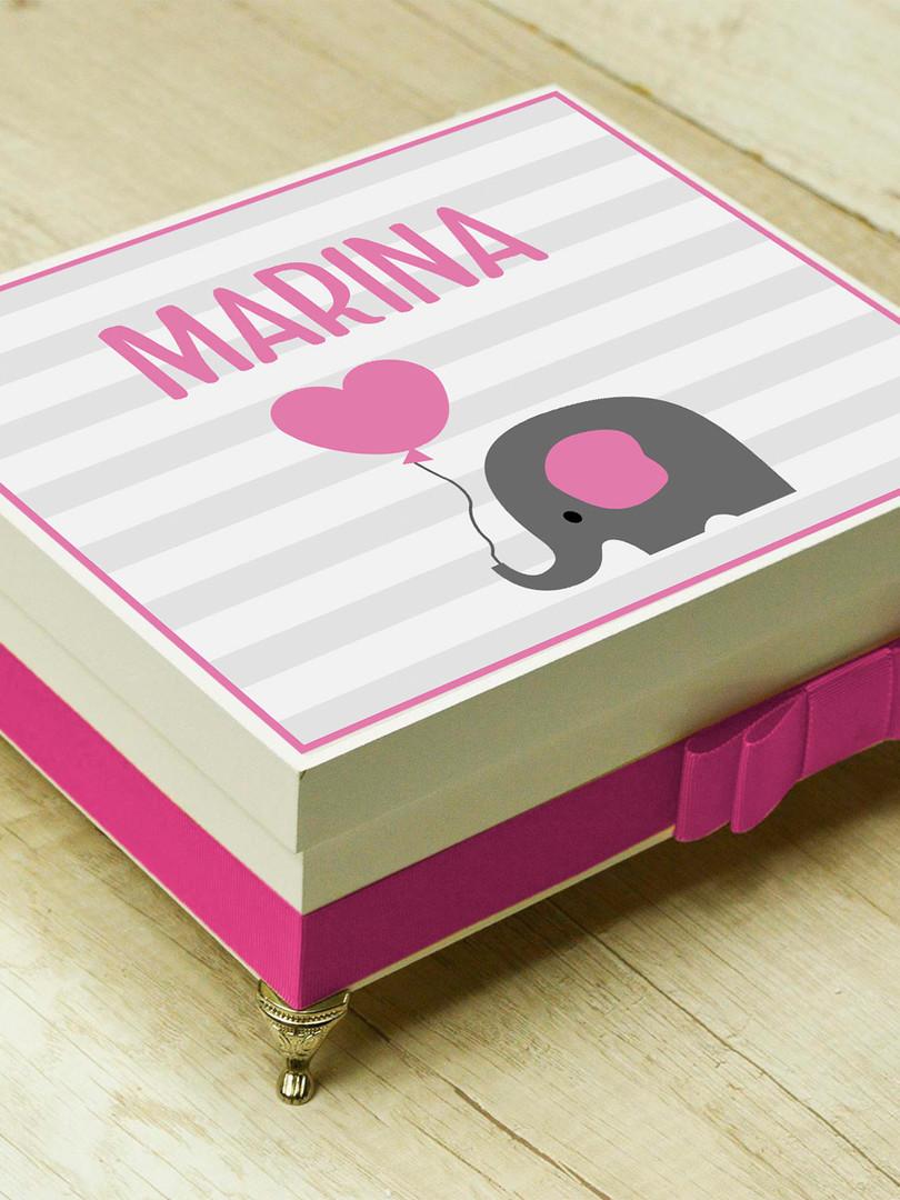 """Caixa Luxo """"Elefante Rosa"""""""
