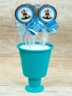 Pirulito de Chocolate + Laço + tag + Baldinho Azul