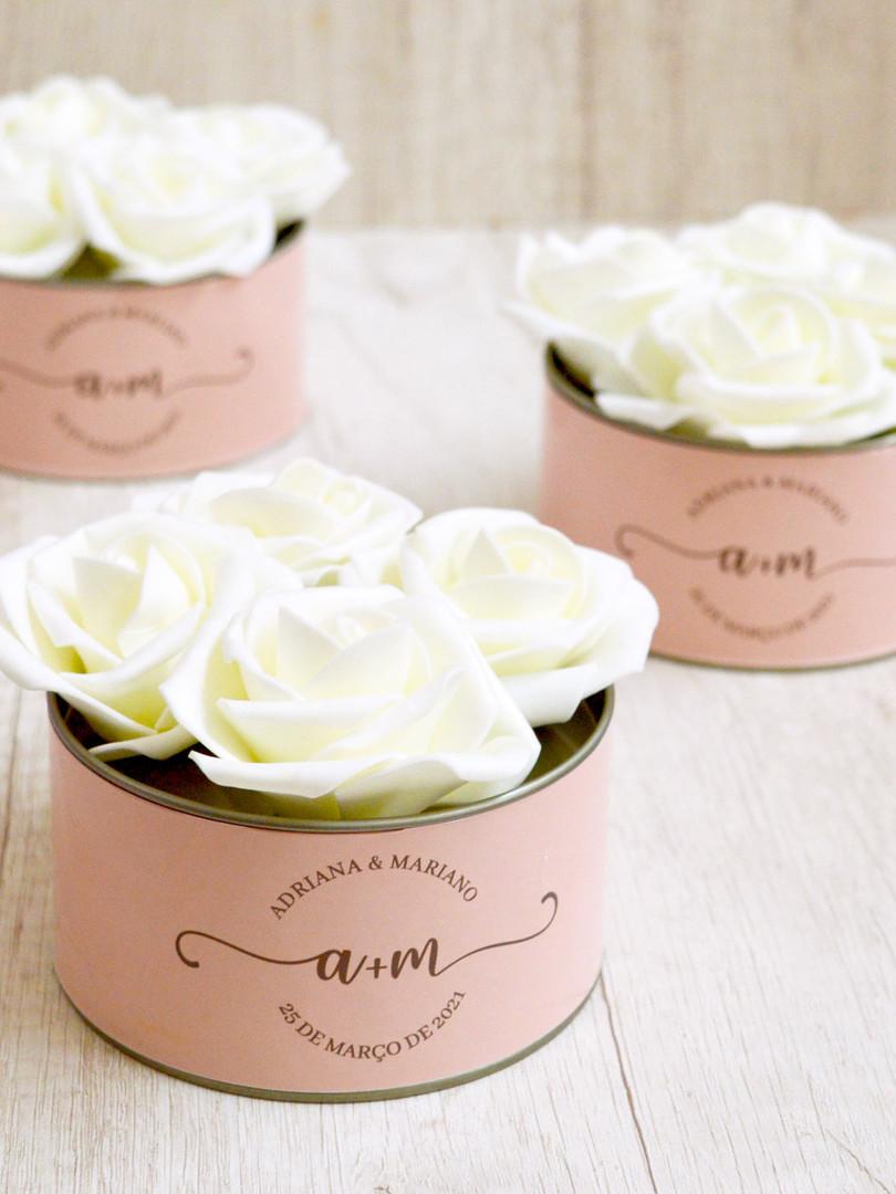 Lata Larga + 4 Flores Off White