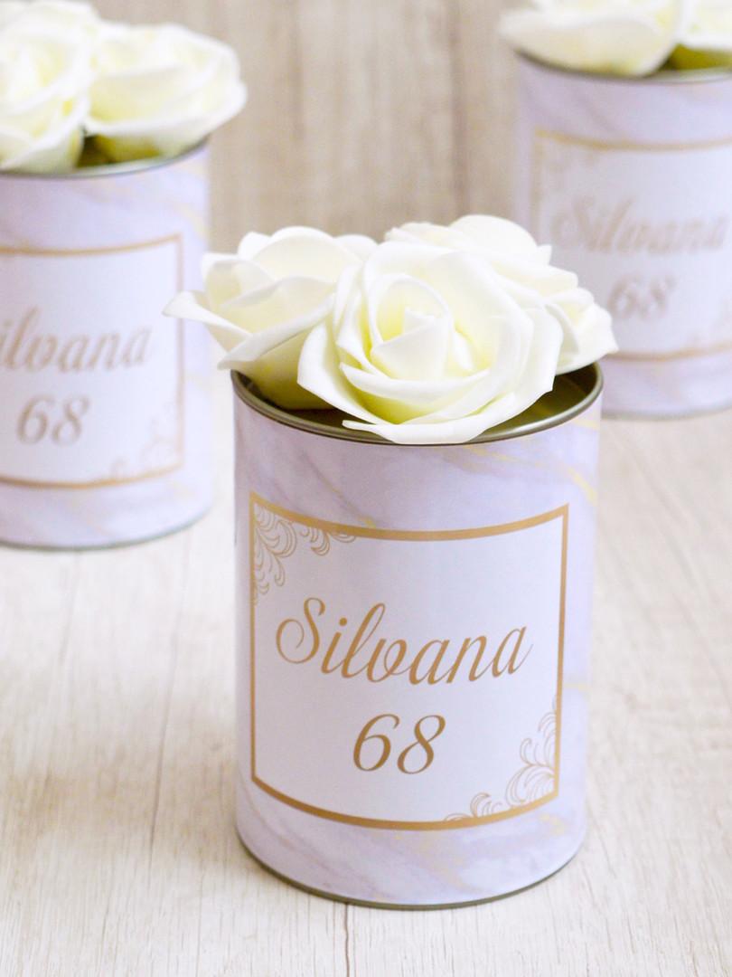 Lata Grande + 3 Flores Off White