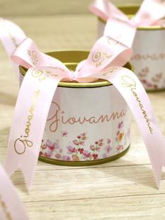 Latinha + Laço Personalizado Rosa Bebê e Dourado