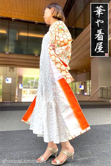 Orange SHIBORI Hexagon with Flowers