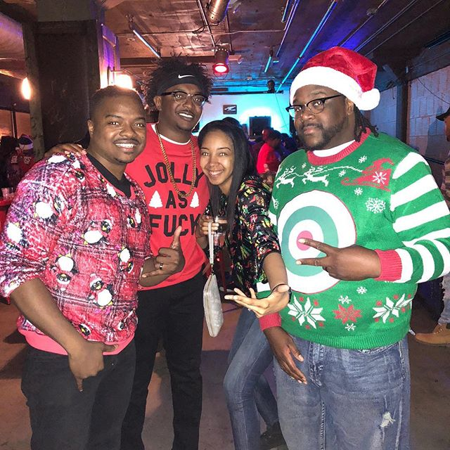 The crew at the Ugly Sweater Party