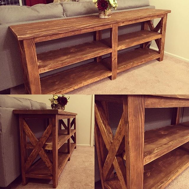 Farmhouse console table complete and delivered! Looking good if I do say so myself! #farmhouse #rust