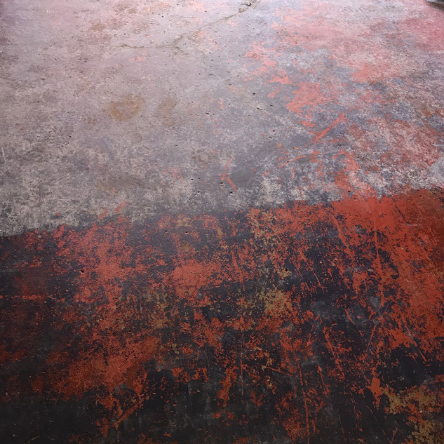 Before & after of painted garage floor
