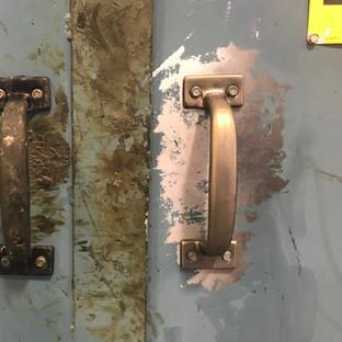 Before & after of plastics oven door handle