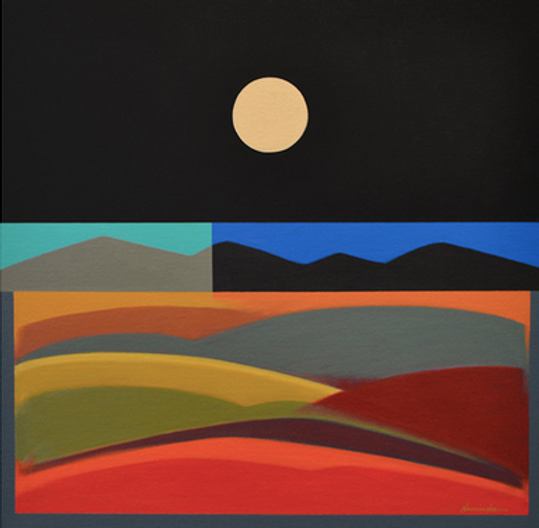 Moon and Land Forms, Acrylic on Canvas,