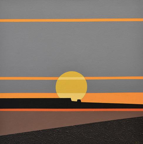 Sun at Dusk, Acrylic on Canvas, 16x16,20