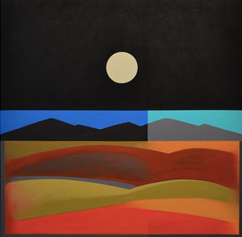 New Mexico Desert Moon, Acrylic on Canva