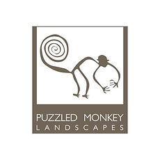 Puzzled Monkey Landscaping Logo and website link