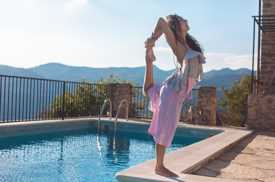 Yana, our yoga Guru, is practicing her routine