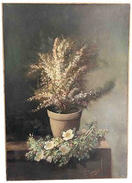 """GONTIER Clément """"Vase de fleurs sur un entablement"""""""