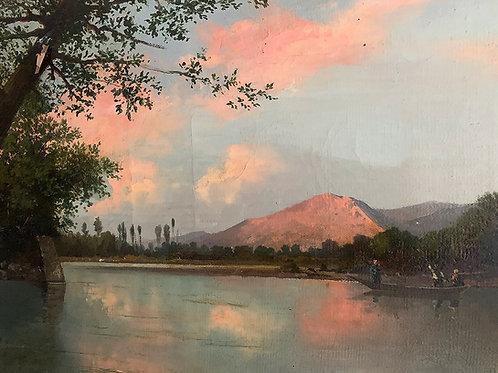 """MILLET Jean-Baptiste """"Barque sur un fleuve"""""""
