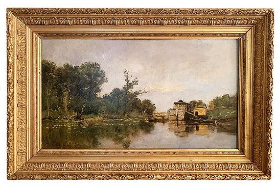 "DAUBIGNY Karl ""L'atelier barque de l'artiste"""