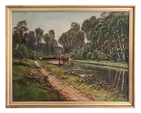 """FOURNIER Alain """"Péniches sur le canal"""""""