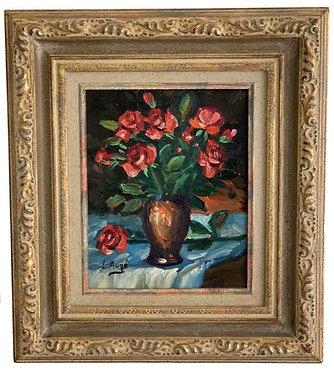 """AUGE Lucien """"Roses dans un vase"""""""