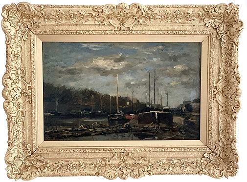 "DAUBIGNY Karl ""Paris - Barges sur la Seine"""