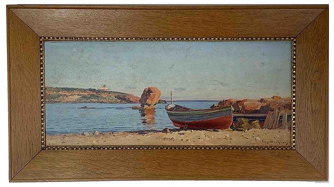 "DESHAYES Eugène ""Bord de mer à la barque"""