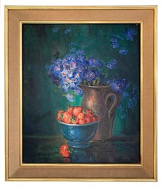 """DE RASKY Marie-Madeleine """"Nature morte aux bleuets et fraises"""""""