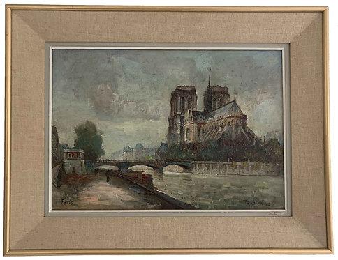 """WILL Franck """"Quai de Seine devant Notre-Dame"""""""
