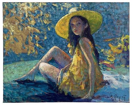 "BEGARAT Eugène ""Le chapeau jaune"""
