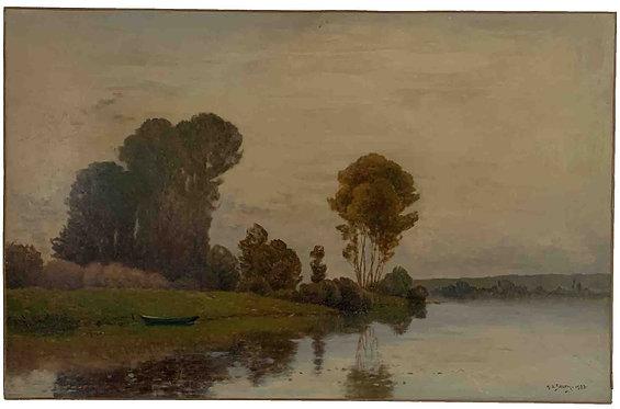 """DELPY Henry """"La Seine aux environs de Vernon"""""""