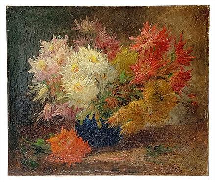 """GODCHAUX Emile """"Bouquet de dahlias"""""""