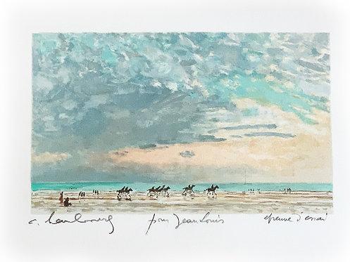 """HAMBOURG André """"Chevaux sur la plage de Deauville"""""""