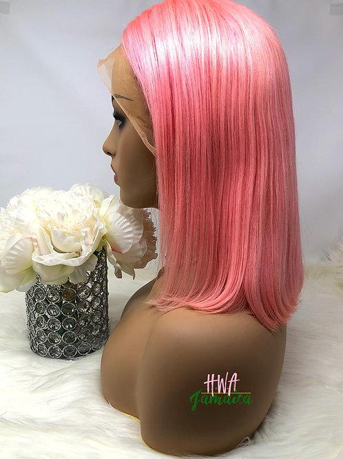 """12"""" Brazilian Straight Pink Bob Lace Front Unit"""