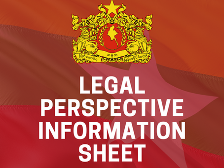Legal Perspective Information Sheet as of 27 September 2021, Permanent Mission of Myanmar, New York