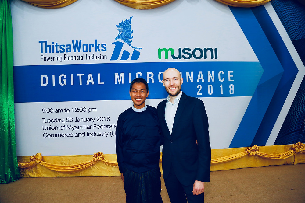 Nyi Nyein Aye, CEO of ThitsaWorks, and Cameron Goldie-Scot, CEO of Musoni, at the Digital Microfinance 2018 Forum in Yangon, Myanmar.