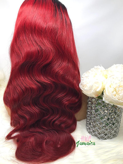 "24"" Brazilian Body Wave 1B/Burgundy Lace Front Unit"