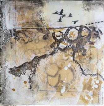 """""""The Flight 1"""" by Sara Bowers. Encaustic. 35x35cm"""