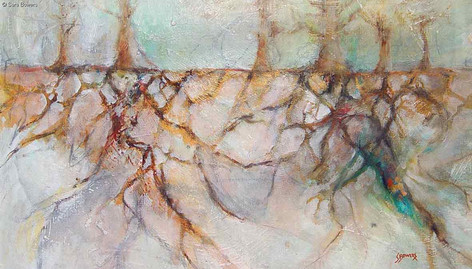 """""""Root Systems 1"""" by Sara Bowers. Mixed Media on Paper. 55x25cm (excluding frame). SOLD"""