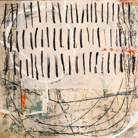 """Earthmarks 1"" by Sara Bowers. Encaustic. 30x30cm. $620"